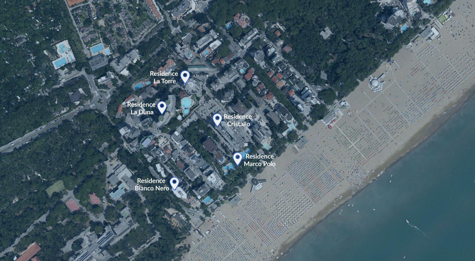 La mappa di Lignano e i residence dell'agenzia Battiston